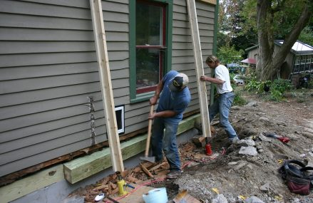 Hire a professional to jack up a house to replace with sill plate